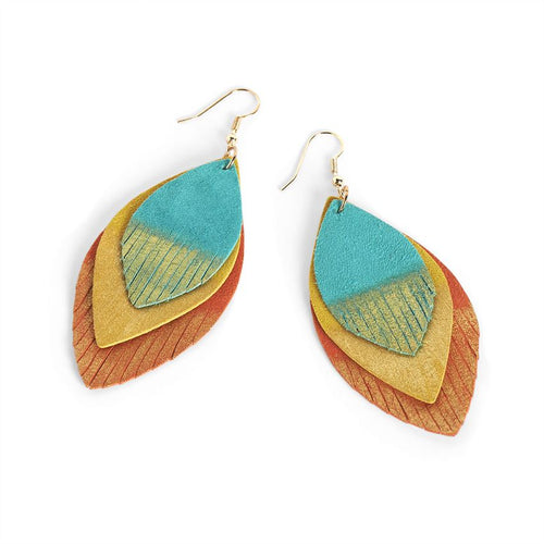 Coco & Carmen Orange/ Teal Layered Dangle Feather Earrings