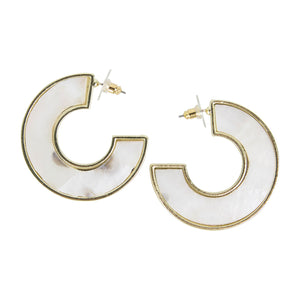 MICHELLE MCDOWELL CHAMBRAY EARRINGS WHITE