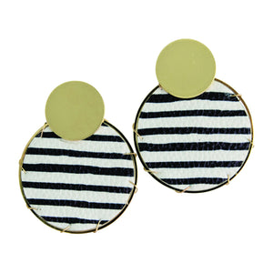 MICHELLE MCDOWELL LASSEN EARRINGS BLACK STRIPS