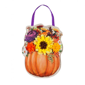 EVERGREEN FLORAL PUMPKIN DOOR DECOR