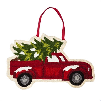 Evergreen Christmas Tree Truck Hooked Door Decor