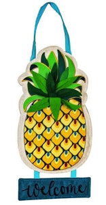 Evergreen Welcome to Our Home Pineapple Door Decor
