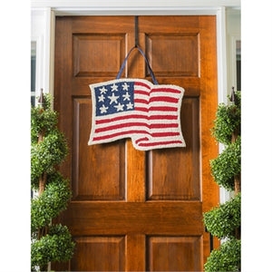 EVERGREEN AMERICAN FLAG HOOKED DOOR DECOR