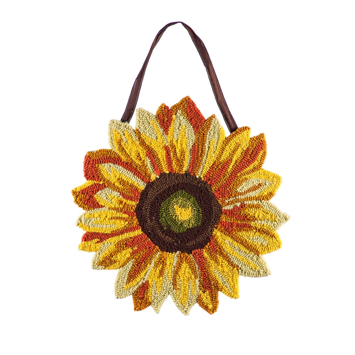 EVERGREEN SUNFLOWER HOOKED DOOR DECOR