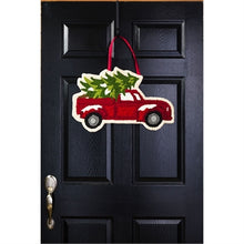Load image into Gallery viewer, Evergreen Christmas Tree Truck Hooked Door Decor