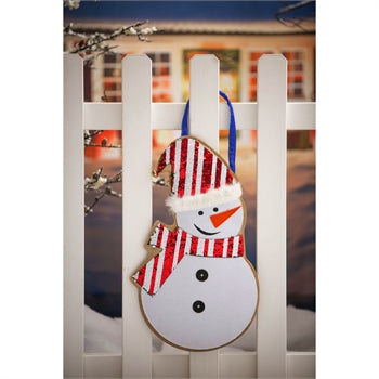 Evergreen Snowman Reversible Sequin Door Decor