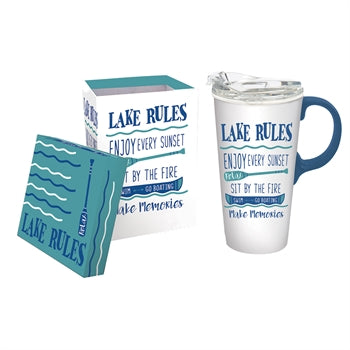 Evergreen Lake Rules Ceramic 17 oz. Travel Cup