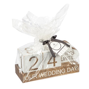 "Evergreen Wooden ""Our Wedding Day"" Countdown Table Decor"