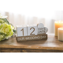 "Load image into Gallery viewer, Evergreen Wooden ""Our Wedding Day"" Countdown Table Decor"