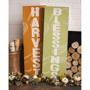 Evergreen Reversible Harvest/Halloween Wooden Mantel/Wall Sign, Set of 2