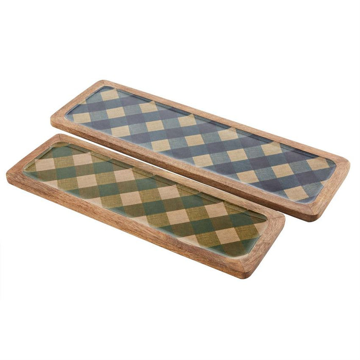 Mud Pie Check Print Enamel Tray Set