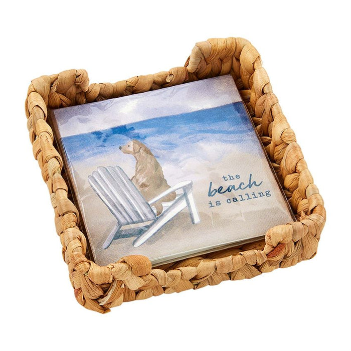 Mud Pie Beach Dog Napkin Basket Set