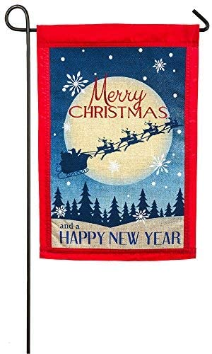 Evergreen Merry Christmas Burlap Garden Flag
