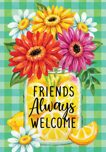 CUSTOM DECOR GERBERAS & LEMONS GARDEN FLAG