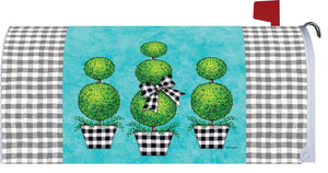 CUSTOM DECOR TOPIARY GINGHAM MAILBOX COVER