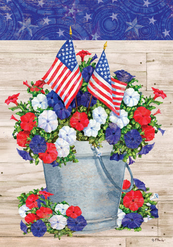 CUSTOM DECOR PATRIOTIC PAIL HOUSE FLAG