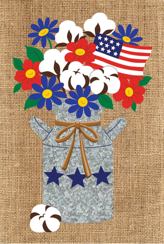 CUSTOM DECOR COTTON MILK CAN GARDEN FLAG