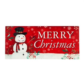 Evergreen Christmas Heritage Snowman Sassafras Switch Mat