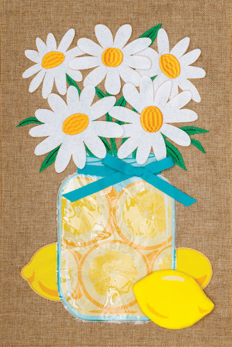 CUSTOM DECOR LEMONS & DAISY BURLAP GARDEN FLAG