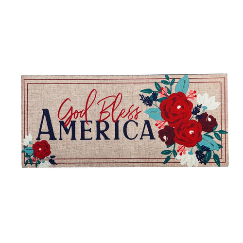 EVERGREEN SP20 Patriotic Floral God Bless America Sassafras Switch Mat