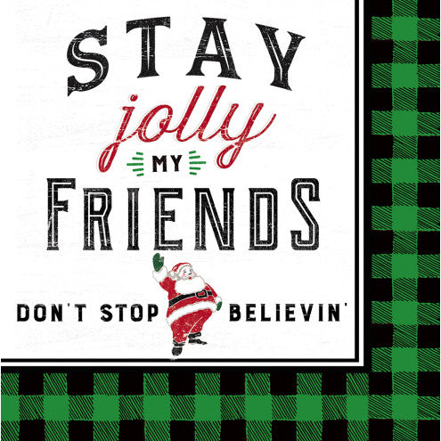 EVERGREEN STAY JOLLY COCKTAIL NAPKINS