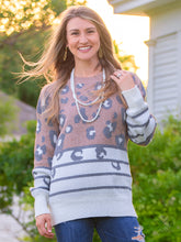Load image into Gallery viewer, Southern Grace Spots & Stripes Leopard Comfy Sweater