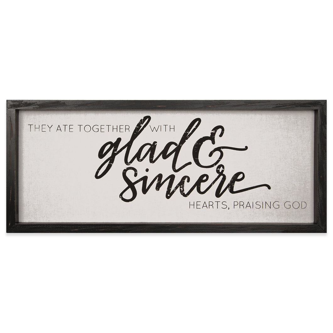BROWNLOW GIFTS GLAD & SINCERE HEARTS FRAMED LINEN SIGN
