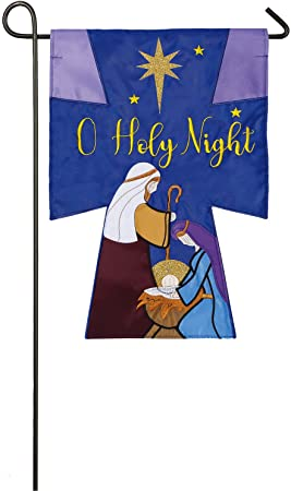 EVERGREEN OH HOLY NIGHT GARDEN FLAG