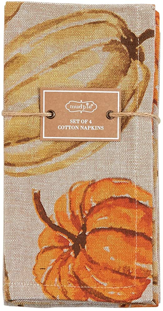 Mud Pie Watercolor Pumpkin Cotton Napkin Set