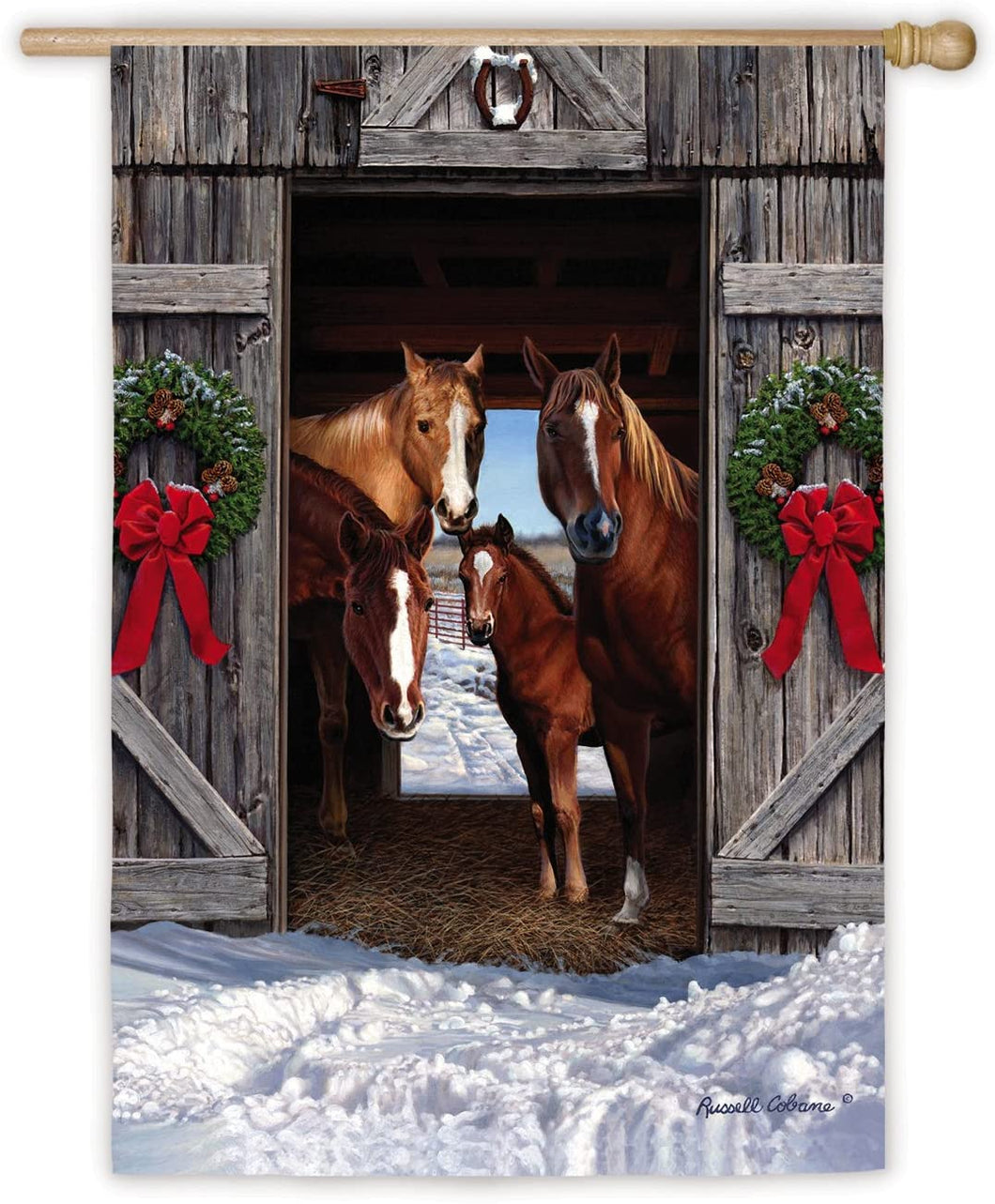 Evergreen Horse Family Christmas House Flag