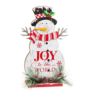 Cypress Home LED Wooden Snowman Tabletop Décor