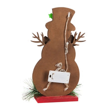 Load image into Gallery viewer, Cypress Home LED Wooden Snowman Tabletop Décor