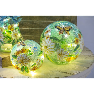 EVERGREEN SP20 Glass Handpainted Floral Butterfly LED Globe with Crackle, Small