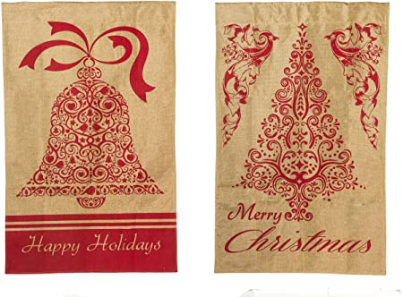 Evergreen Happy Holiday Two Sided Burlap Garden Flag