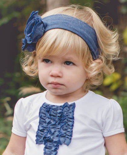 RuffleButts Faux Denim Emily Headband