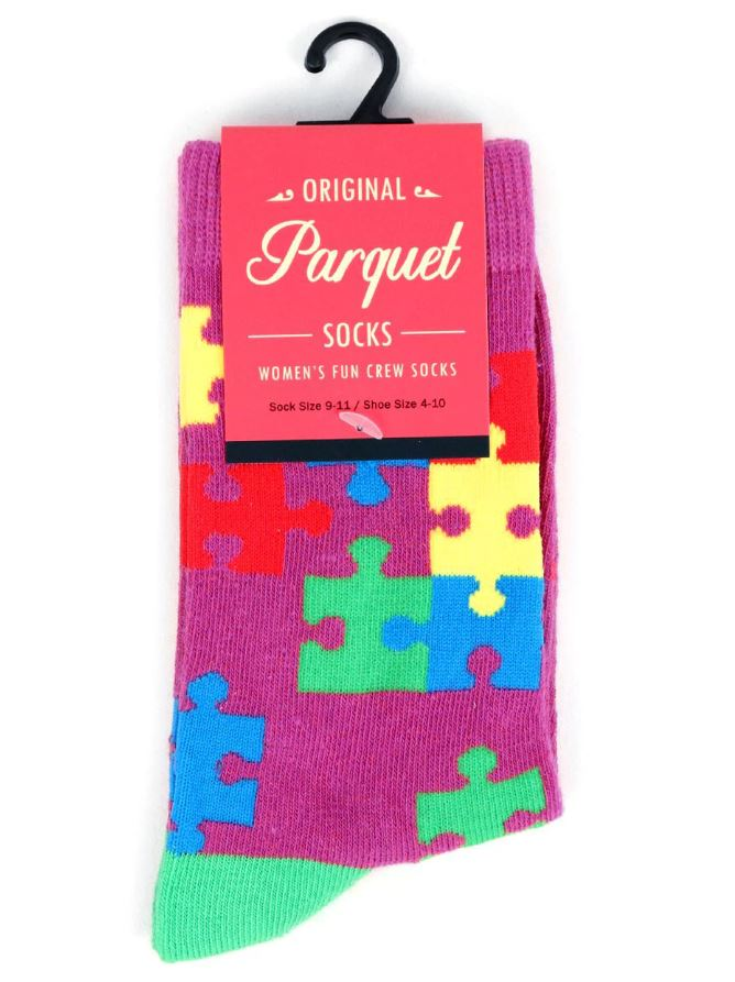 Parquet Ladies Autism Awareness Novelty Crew Socks