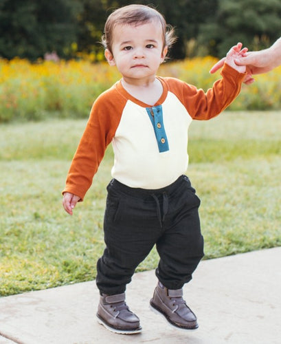 RuggedButts Orange Spice & Ivory Raglan Henley Bodysuit