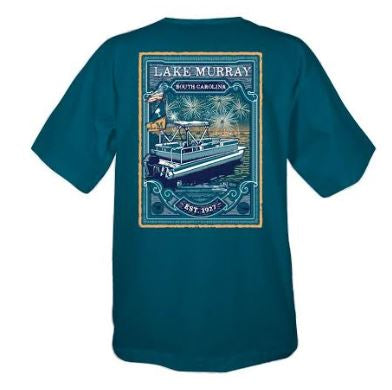 KOSS CUSTOM LAKE MURRAY BOAT WITH FIREWORKS T-SHIRT - COMFORT BLUE