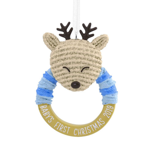 Hallmark Baby Boy's First Christmas Deer Rattle 2019 Ornament