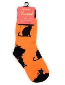 Parquet Ladies Halloween Black Cat Novelty Crew Socks