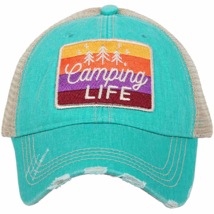 Katydid Collection Camping Life Distressed Teal Hat