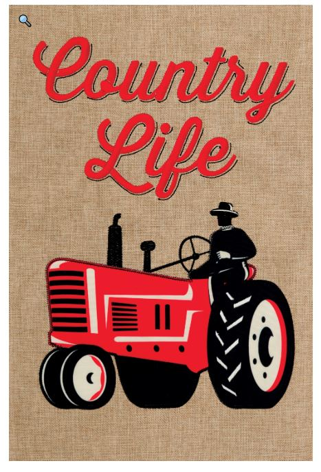 CUSTOM DECOR RED TRACTOR GARDEN FLAG