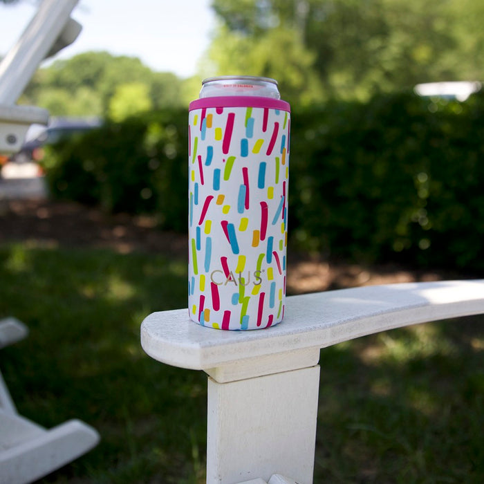 Caus Paint Splash Stainless Steel Skinny Can Cooler