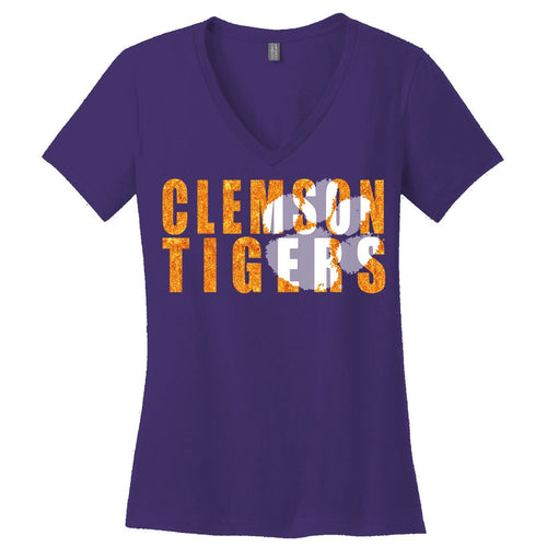PALMETTO SHIRT CO. CLEMSON SPARKLE TIGER VNECK