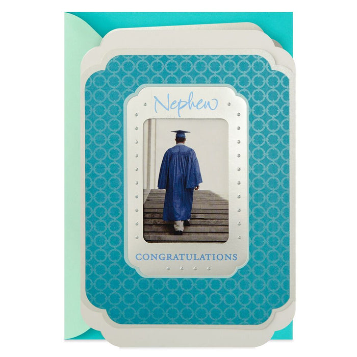 HALLMARK CAP AND GOWN PHOTOGRAPH GRADUATION CARD FOR NEPHEW