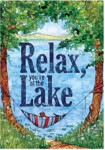 CUSTOM DECOR RELAX AT THE LAKE- HOUSE FLAG