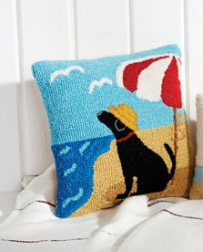 Mud Pie Beach Dog Hooked Pillow