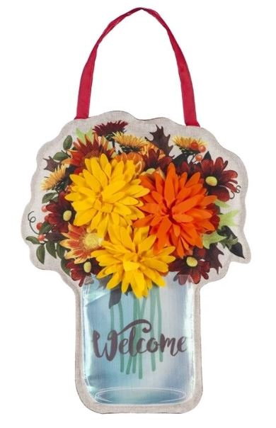 EVERGREEN FALL MUMS JAR DOOR DECOR