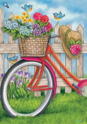 CUSTOM DECOR BIKE BASKET HOUSE FLAG