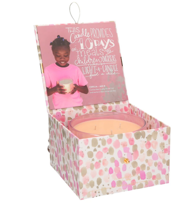 Bridgewater Candle Company Sweet Grace 3 Wick Celebration Candle - Light A Candle Feed A Child Candle Collection